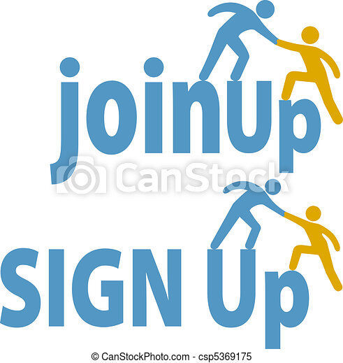 Member helps people sign up join group icon - csp5369175