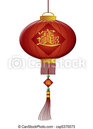 Happy Chinese New Year Wealth Lanterns - csp5370073