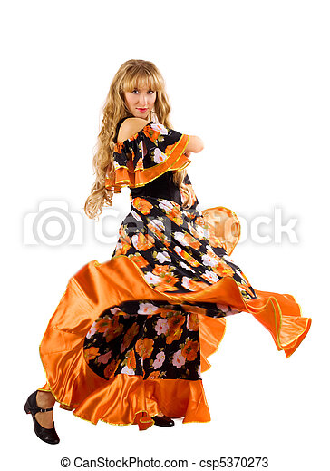 Mature blond woman dance in gypsy costume - csp5370273