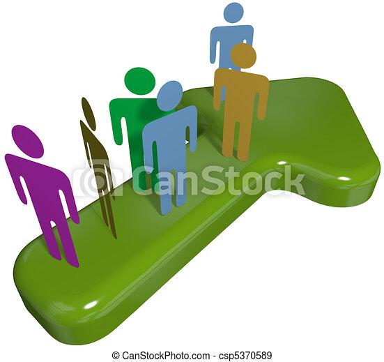 People team on 3D symbol arrow to progress success - csp5370589