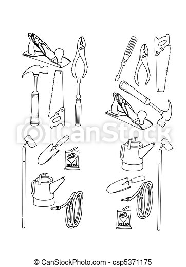 Collection vector of contours of various tools - csp5371175