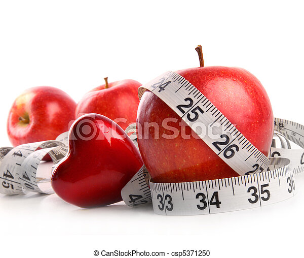 Red apples,heart and measuring tape on white  - csp5371250