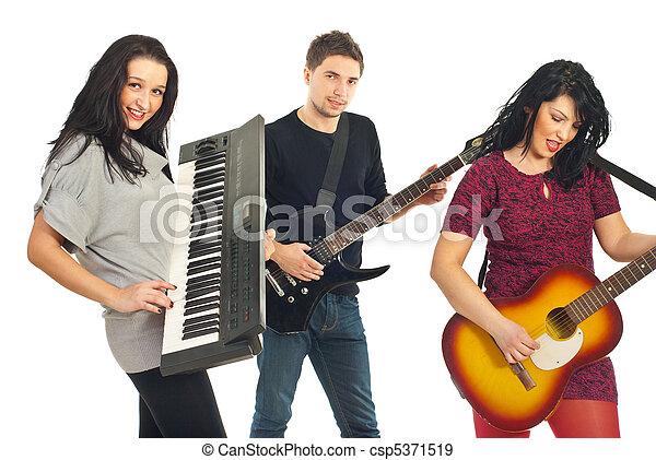 faixa, tocando, Instrumentos - csp5371519