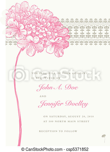 Vector Pink Flower Wedding Frame and Background - csp5371852