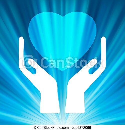 Clip Art Vector of Heart in open hands. EPS 8 vector file ...