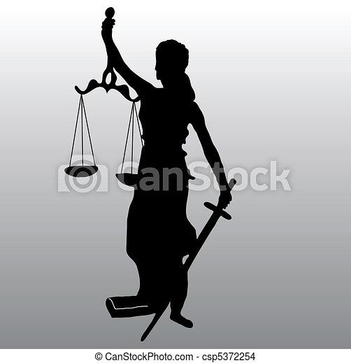 Justice statue silhouette - csp5372254