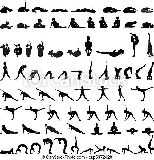 Various yoga postures silhouettes v - csp5372428