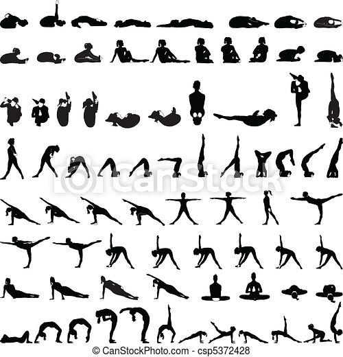 Various yoga postures silhouettes v - csp5372428