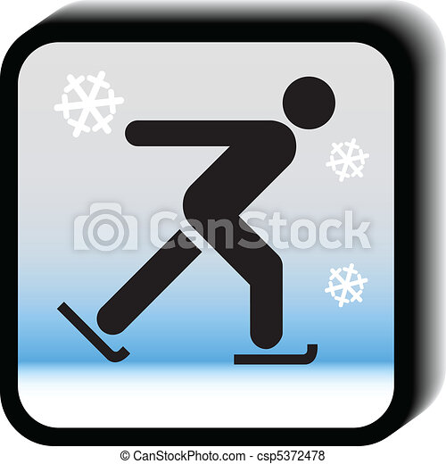 Winter icon vector-Skating - csp5372478