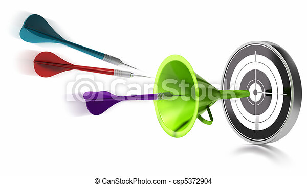 three darts hitting the center of a target helped by a green funnel, image is over a white background - csp5372904