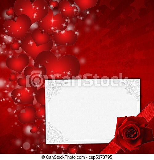 Red Valentine's day card with hearts and rose - csp5373795