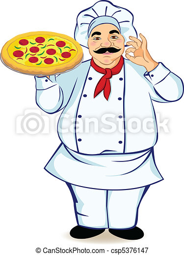 A chef and pizza - csp5376147