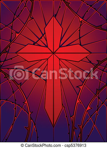 Cross window with thorns - csp5376913
