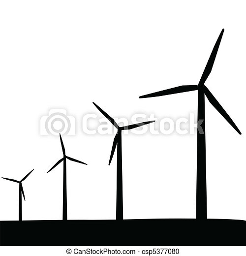 Wind Turbines Silhouette - csp5377080
