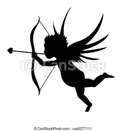 Clip art vecteur de noir silhouette cupidon noir - Dessin de cupidon ...