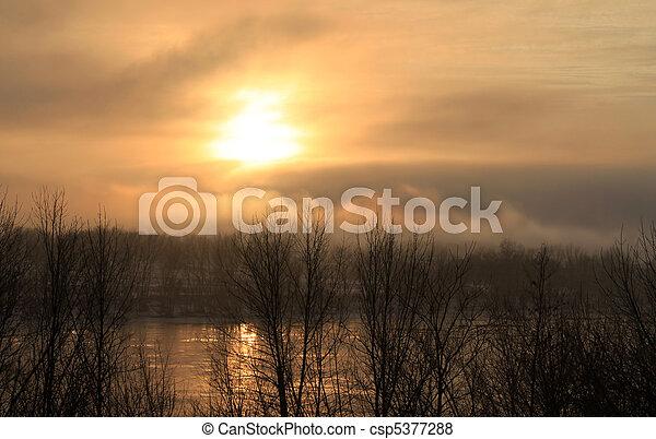 Mystic fog at sunset - csp5377288