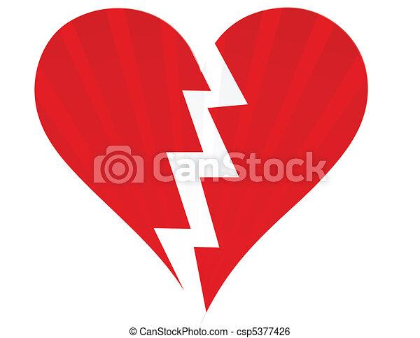 Broken heart isolated on white - csp5377426