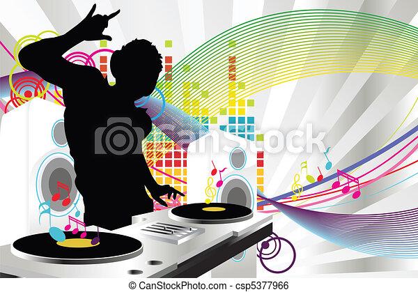 clip art vector of dj music a vector illustration of a