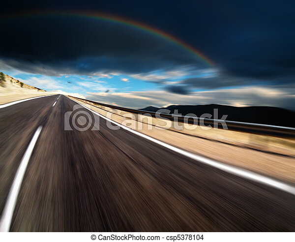 Road with motion blur - csp5378104
