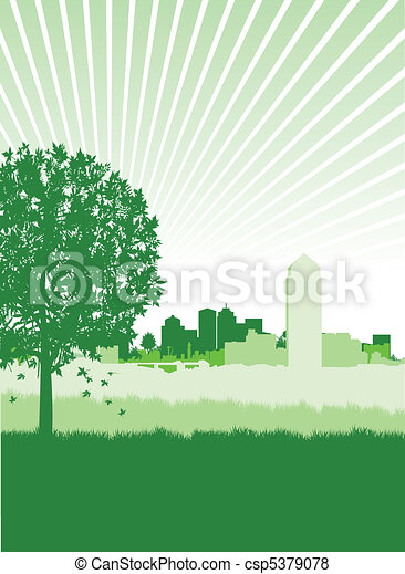 tree on a cityscape - csp5379078