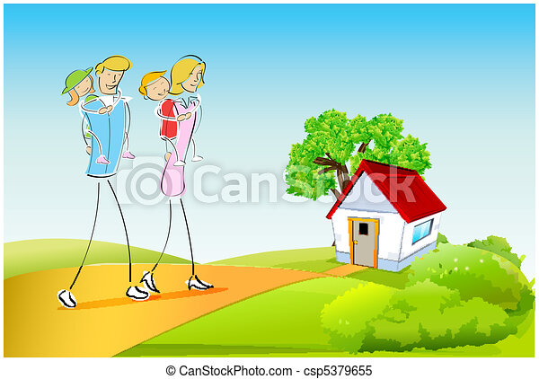 family outdoors - csp5379655