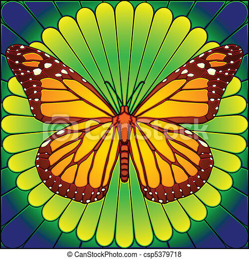 Stained glass butterfly - csp5379718