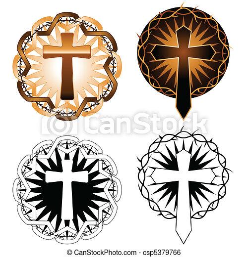 Clip Art Vecteur de croix, tatouages - deux, tatouage, inspiré, croix ...