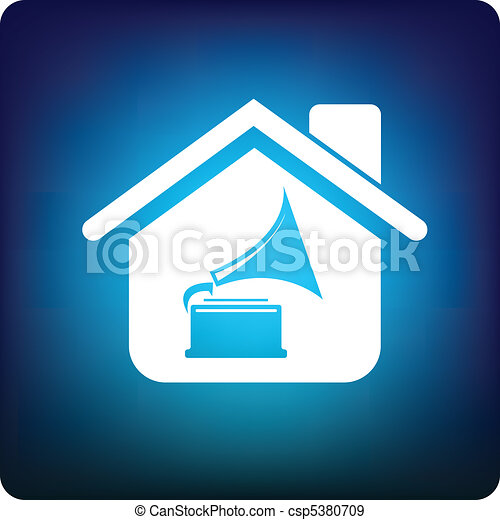Home icon with gramophone inside - csp5380709