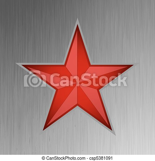Red star on steel background. EPS 8 - csp5381091