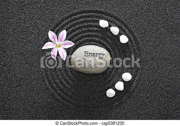 zen garden in black sand - csp5381230