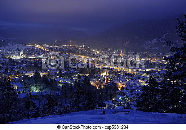 city garmisch at night - csp5381234