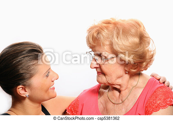 Grandmother and granddaughter talking - csp5381362