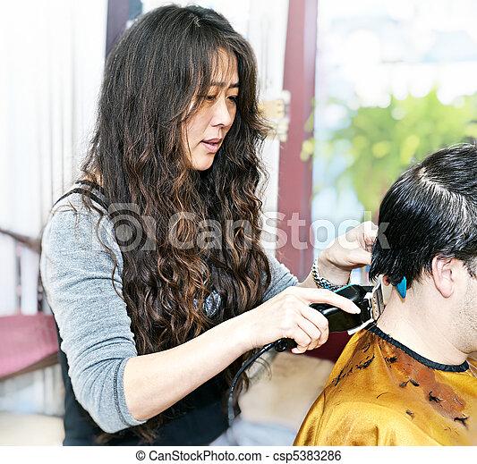 Hairstylist working - csp5383286