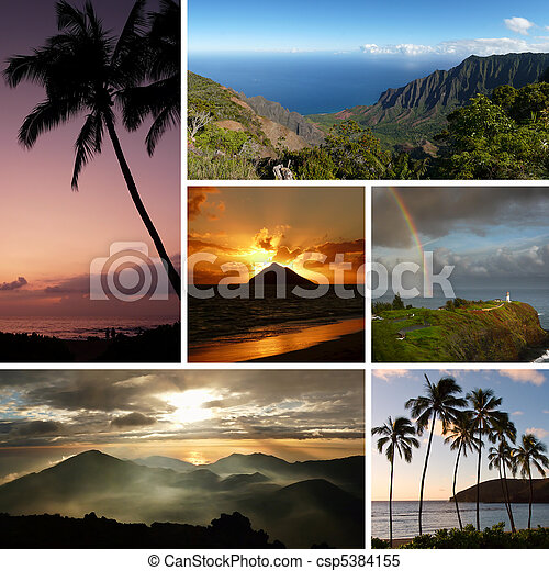 Hawaii collage with multiple typical photos - csp5384155