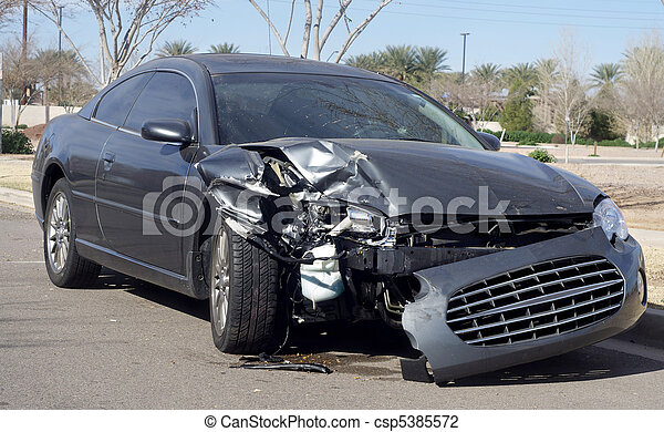 Car wreck after road accident - csp5385572