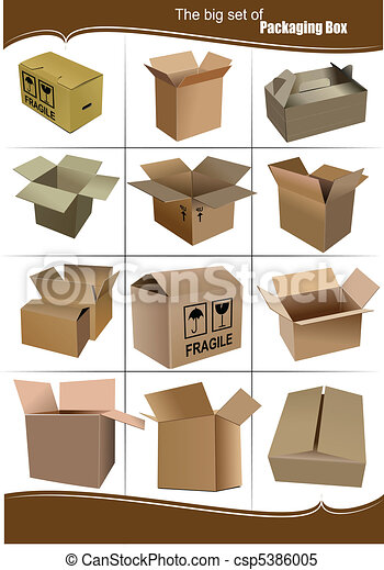 Big Set of carton packaging boxes  - csp5386005
