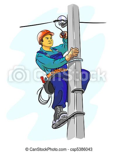 Dibujos de electricista pil n electricista en un for Trabajo de electricista en malaga