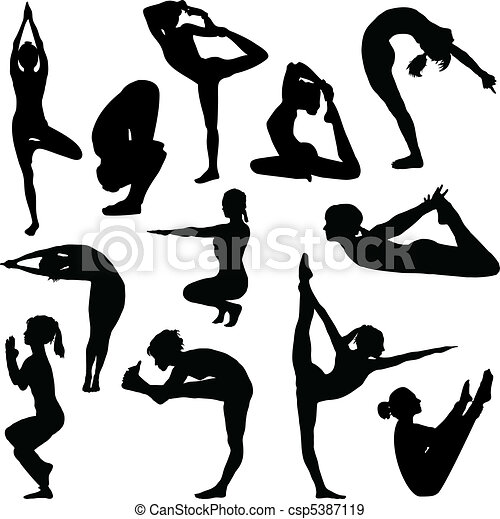 Different yoga poses - csp5387119