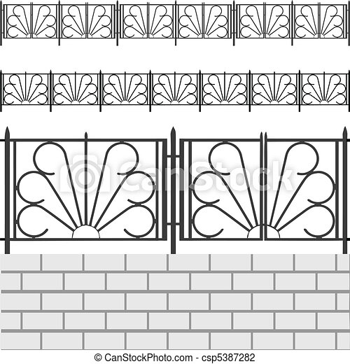 Fence with white bricks - csp5387282