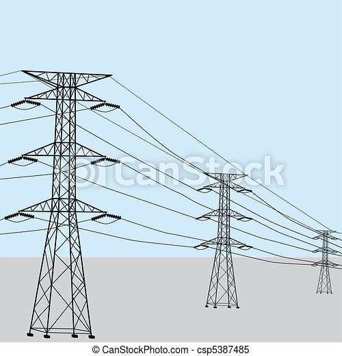 Clipart Vector Of High Voltage Power Lines Csp5387485 - Search Clip Art Illustration Drawings ...