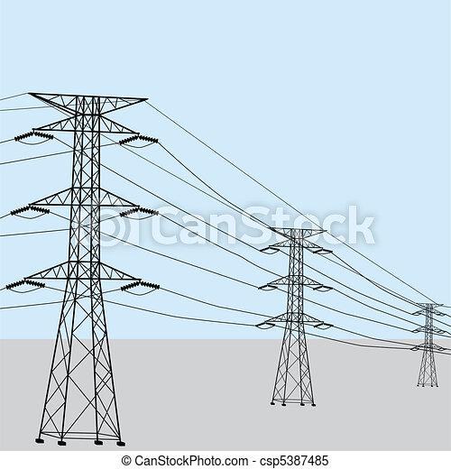 High voltage power lines - csp5387485