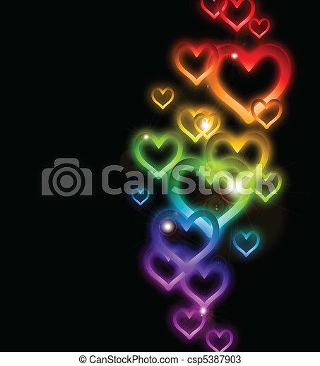 Rainbow Heart Border with Sparkles. Vector - csp5387903