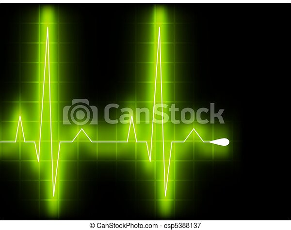 Green heart beat. Ekg graph. EPS 8 - csp5388137