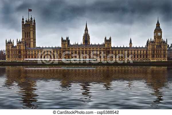 Houses of Parliament, also known as the Palace of Westminster, rebuilt in the 19th Century by Charles Barry and Augustus Pugin in a Neo-Gothic style. Located in Westminster on the bank of the River Th - csp5388542