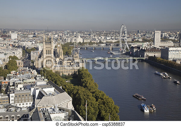 Aerial view on Houses of Parliament and  London Eye. - csp5388837