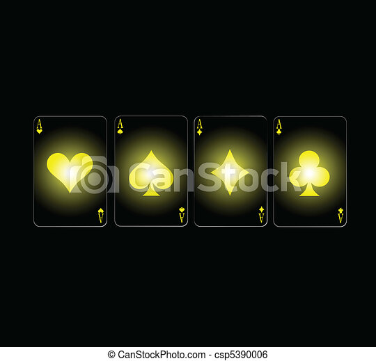 poker aces in yellow card sign - csp5390006