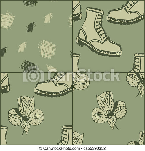 a set of vector seamless grunge background with boots and flowers, clipping masks - csp5390352