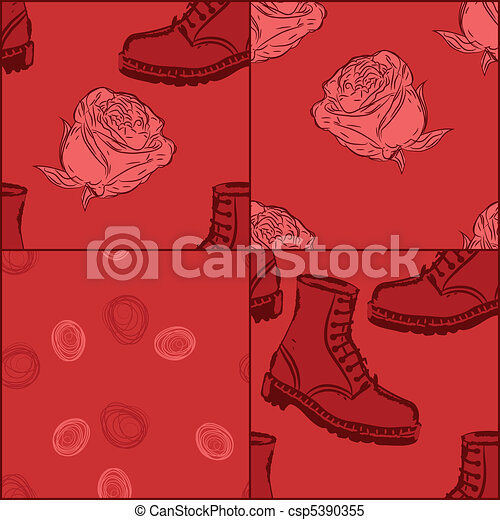 a set of vector seamless grunge background with boots and flowers, clipping masks - csp5390355