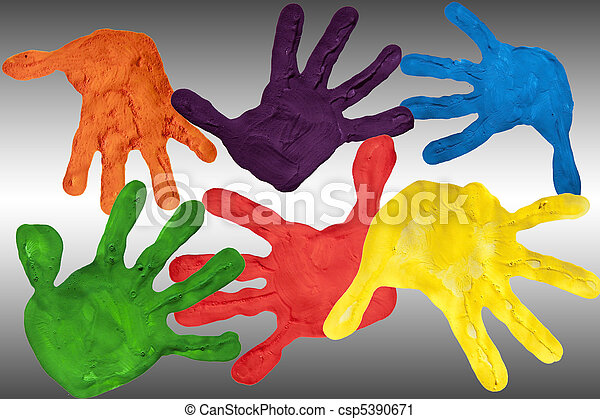Painted hands on a white and grey gradient background - csp5390671