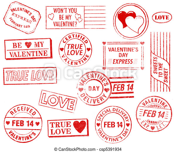 Set of 15 Valentine's Day Stamps - csp5391934